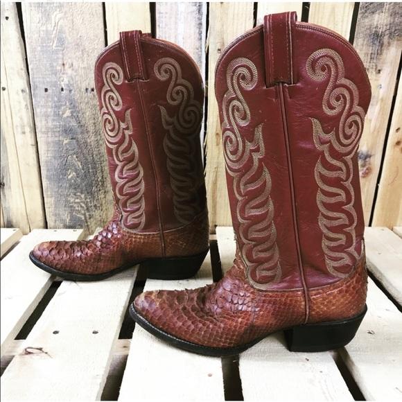 20880442db8 Tony Lama Mens Exotic Anaconda Snakeskin boots 7B